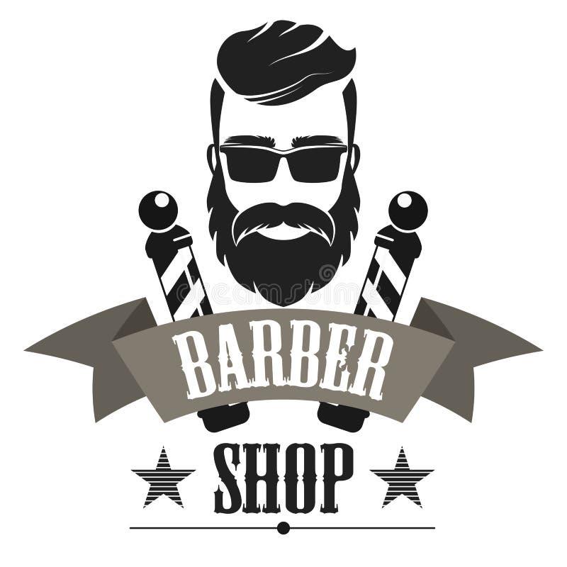 Fryzjera męskiego sklepu etykietki retro logo, rocznika emblemat lub odznaka, odizolowywaliśmy wektorową ilustrację royalty ilustracja