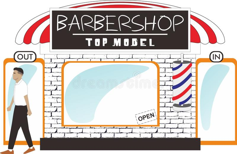 Fryzjera męskiego sklepu kontuaru model royalty ilustracja