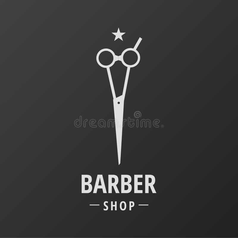 Fryzjera męskiego sklepu loga nożyc gwiazda ilustracja wektor