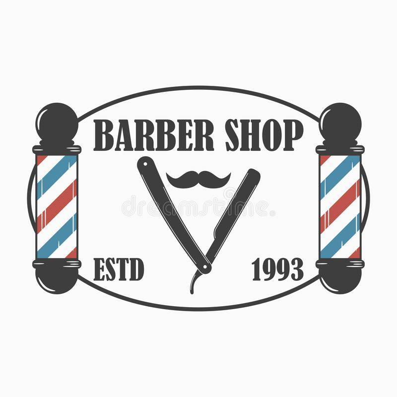 Fryzjera męskiego sklepu logo Fryzjerstwo salonu szablonu emblemat z fryzjera męskiego słupem, prostą żyletką i wąsy, wektor ilustracja wektor