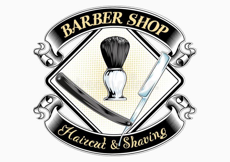 Fryzjera męskiego sklepu logo z literowaniem ilustracja wektor