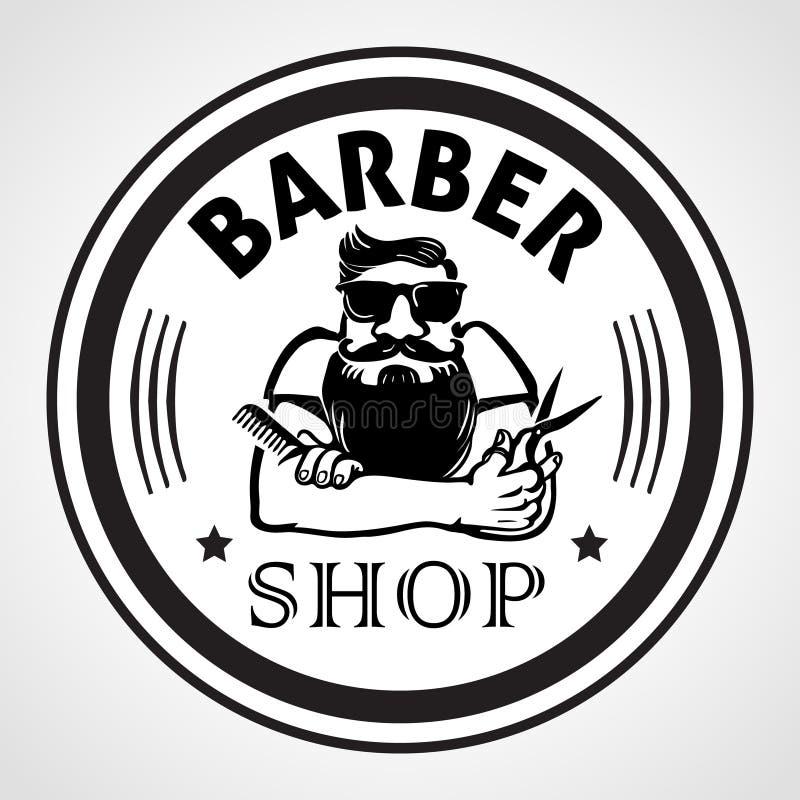Fryzjera męskiego sklepu round etykietka, odznaka lub emblemat, również zwrócić corel ilustracji wektora ilustracja wektor