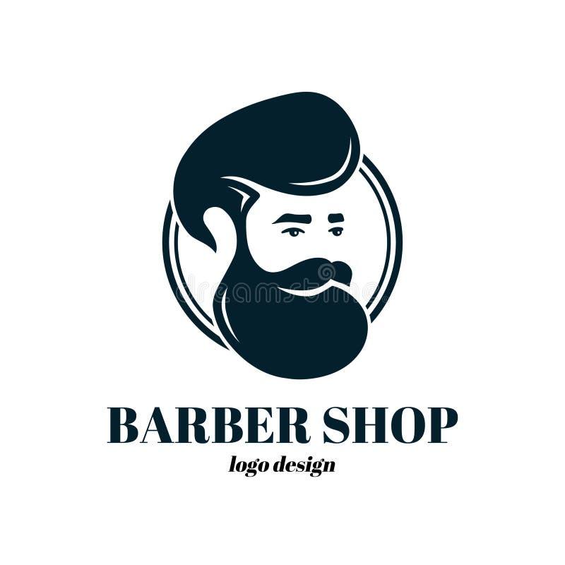 Fryzjera męskiego sklepu szablonu loga projekt wektor royalty ilustracja