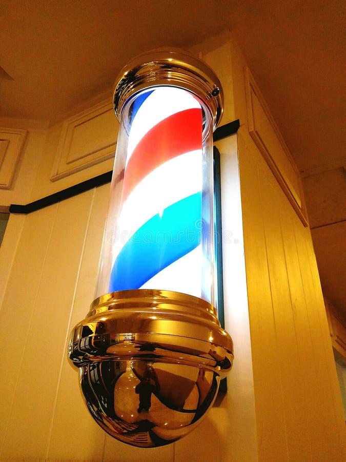 Fryzjera męskiego sklepu znaka lampa zdjęcie stock