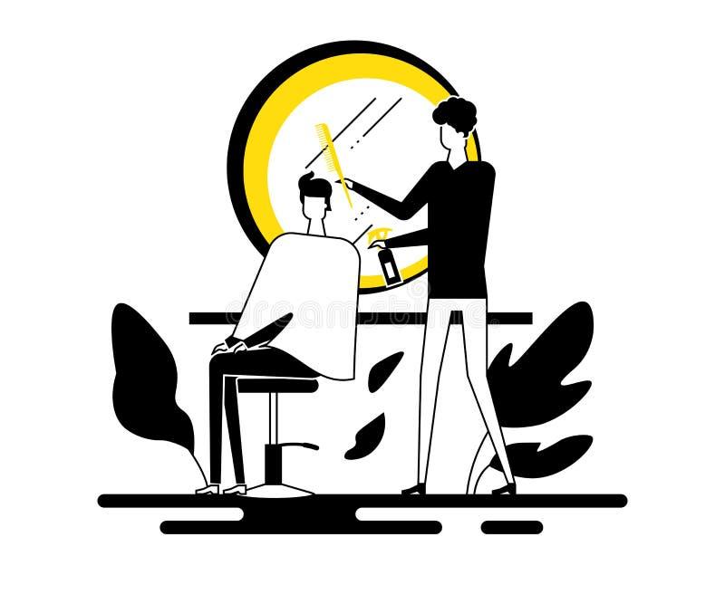 Fryzjera m?skiego sklep - kolorowa p?aska projekta stylu ilustracja ilustracja wektor