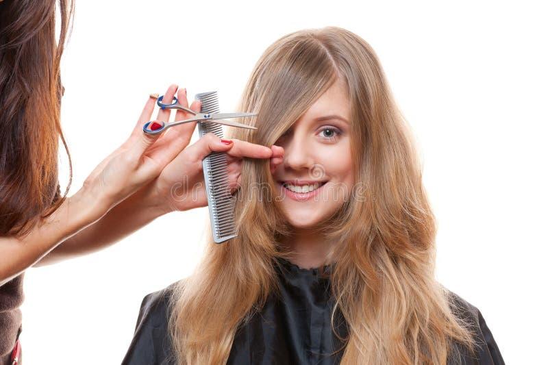 fryzjera strzału smiley studia kobieta zdjęcie stock