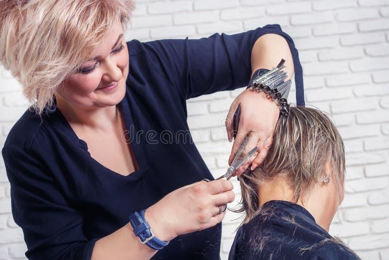 Fryzjera tnący włosy z nożycami obraz stock