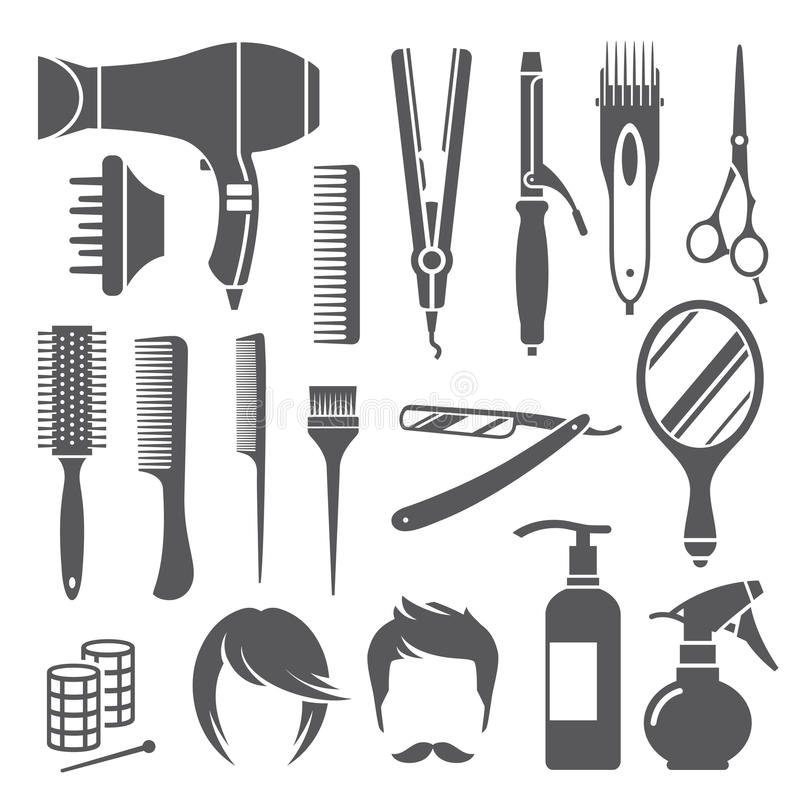 Fryzjerstwa wyposażenia symbole ilustracja wektor