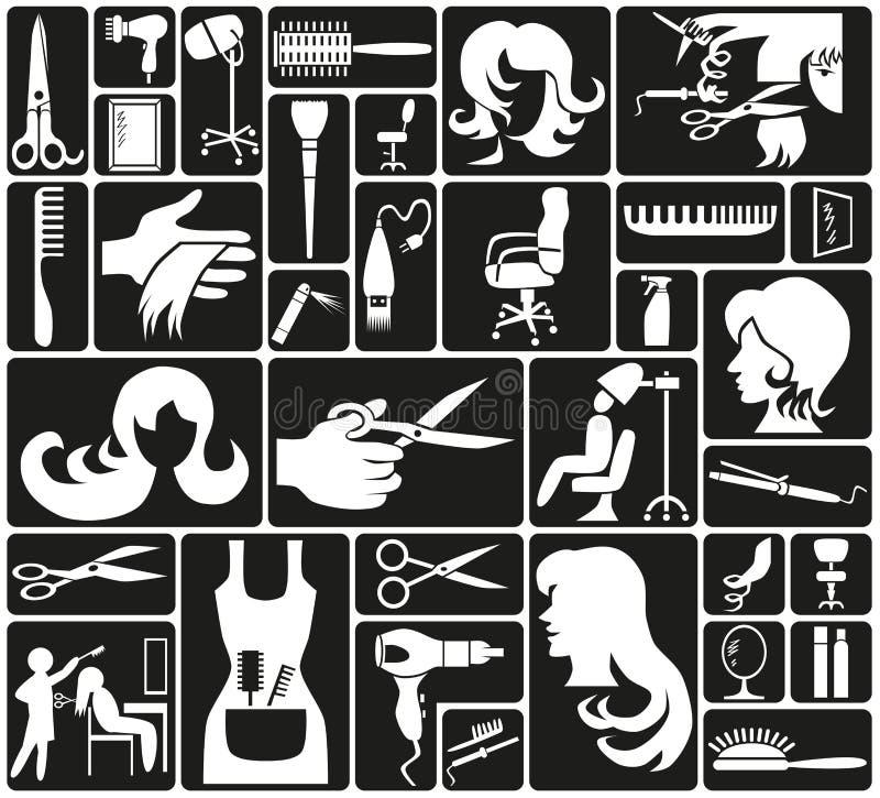 Fryzjerstwo ikony royalty ilustracja
