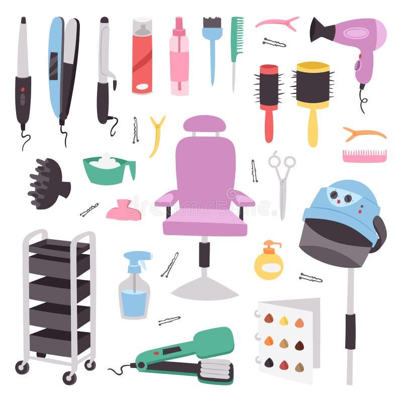 Fryzjerstwo salonu zakładu fryzjerskiego przyrządów symboli/lów mody fryzjera fryzjera męskiego fachowi eleganccy narzędzia dla c royalty ilustracja