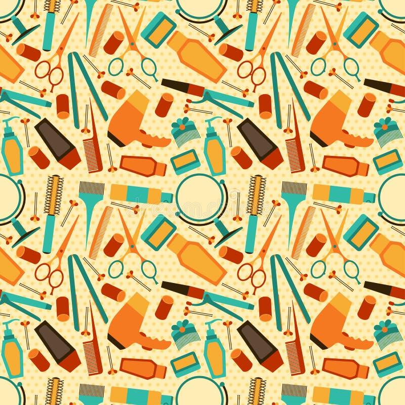 Fryzjerstwo wytłacza wzory bezszwowego wzór w retro stylu ilustracja wektor