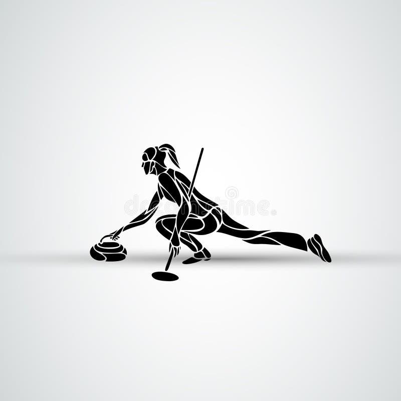 Fryzowanie atlety odosobniona wektorowa sylwetka Kobiety curler wektor ilustracji