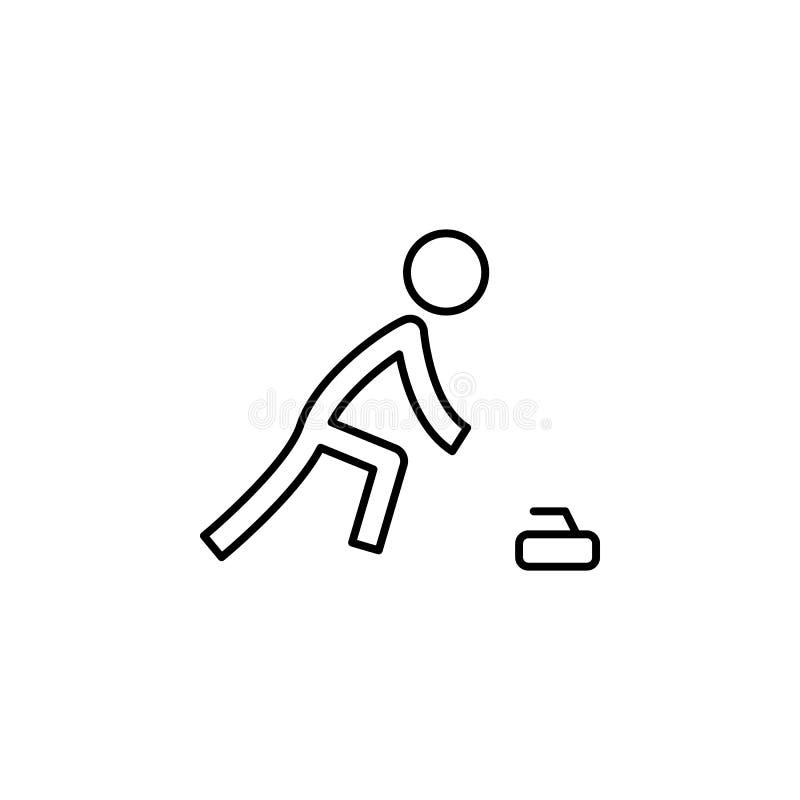 Fryzowanie, zima, sporta konturu ikona Element zima sporta ilustracja Znaki i symbol ikona mogą używać dla sieci, logo, royalty ilustracja