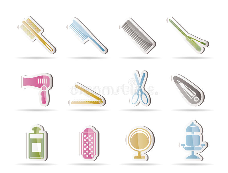 fryzury fryzjerstwa ikony uzupełniali royalty ilustracja