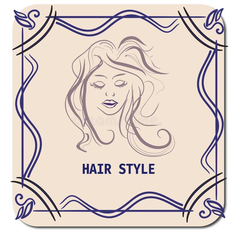 Fryzury karta DLA piękno salonu W wektorze Z PIĘKNĄ dziewczyną royalty ilustracja