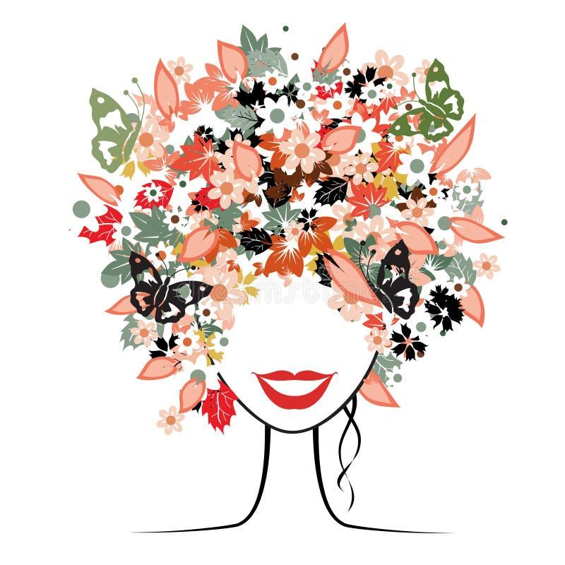 fryzury kwiecista kobieta ilustracja wektor