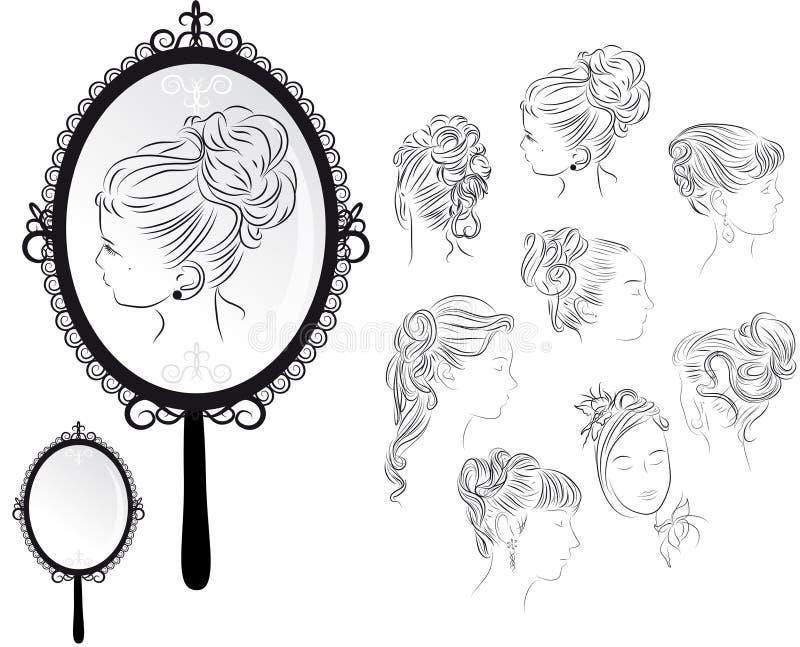 fryzury odzwierciedlają s kobiety ilustracji