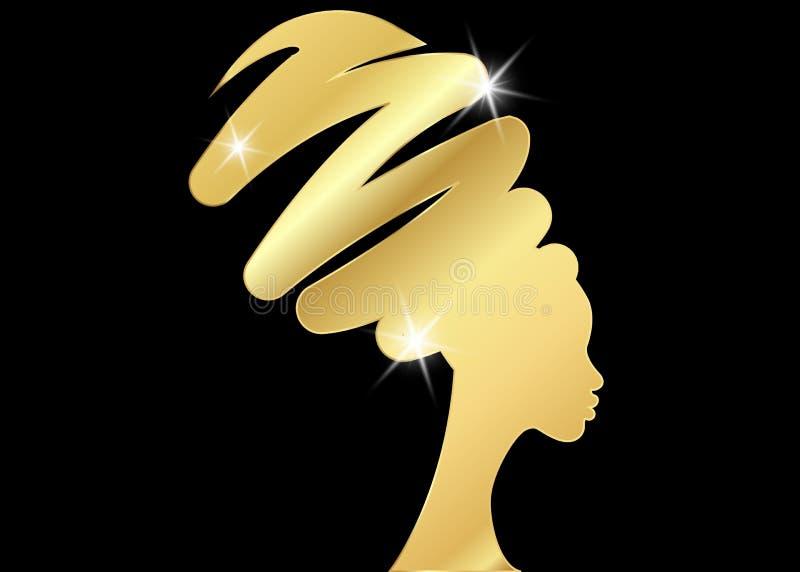 Fryzury pojęcie z piękną długie włosy dziewczyną, murzynki sylwetka Projekta pojęcie dla piękno salonów, zdrój, kosmetyki, ilustracji