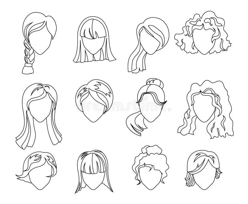 Fryzury sylwetki set Kobieta, dziewczyna, żeński włosy, twarz dla kolorystyki książki Piękno wektor, płascy avatars ilustracji