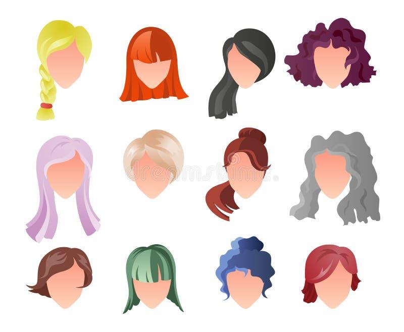 Fryzury sylwetki set Kobieta, dziewczyna, żeński włosy, twarz Piękno wektor, płascy avatars Piękna włosianych stylów ikona royalty ilustracja