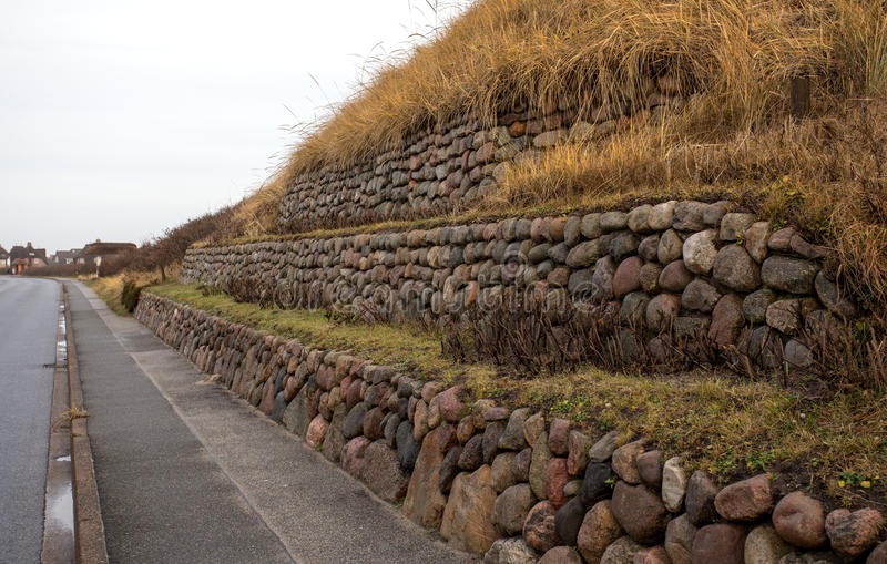Fryzyjska kamienna ściana zasadzająca z europejczyk plaży trawą obraz royalty free