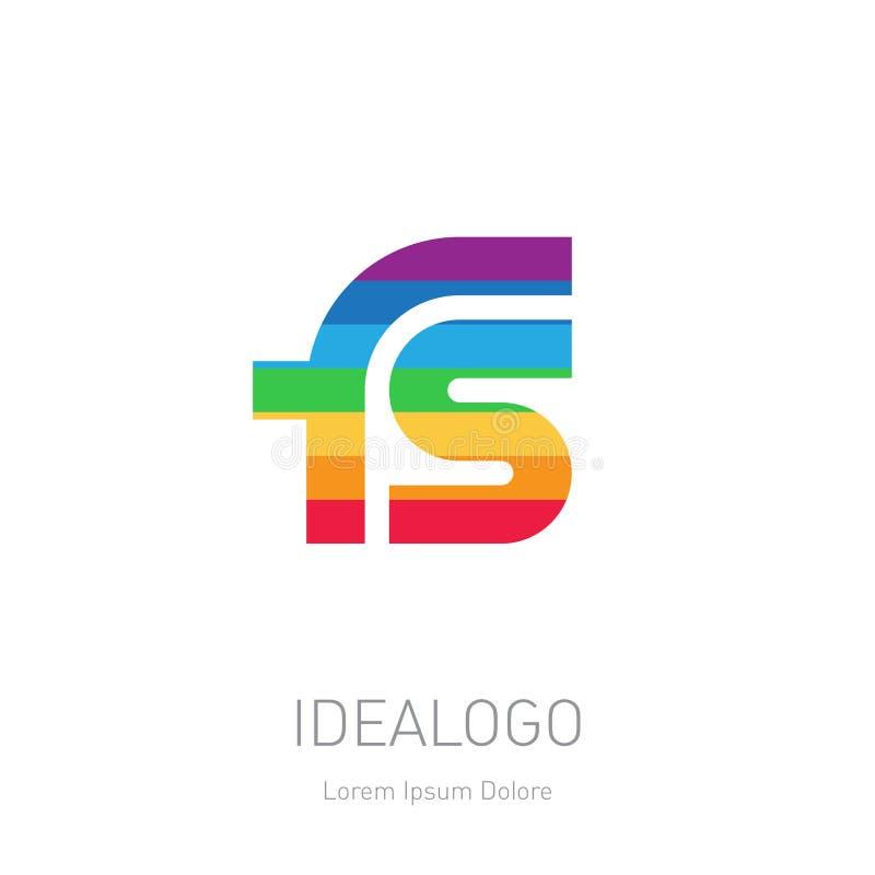Fs-initiallogo Logotyp för full färg för FS-initialmonogram vektor royaltyfri illustrationer
