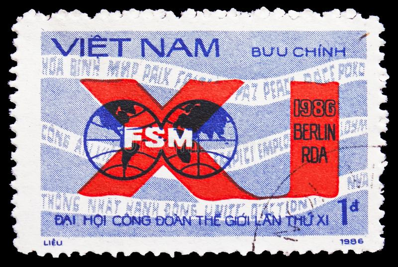FSM emblem, 11th World Trade Unions Congress serie, circa 1986. MOSCOW, RUSSIA - FEBRUARY 21, 2019: A stamp printed in Vietnam shows FSM emblem, 11th World Trade royalty free stock image