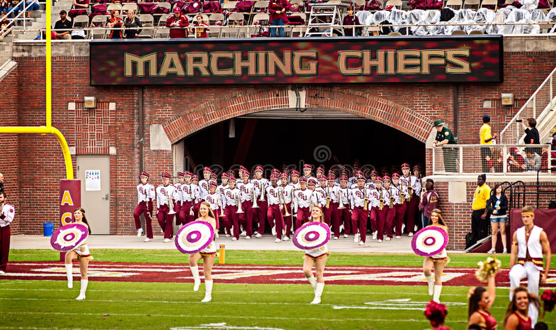 FSU Marching Chiefs. Tallahassee, FL - Nov. 23, 2013: The Marching Chiefs are the official marching band for Florida State University. They take the field at royalty free stock photo