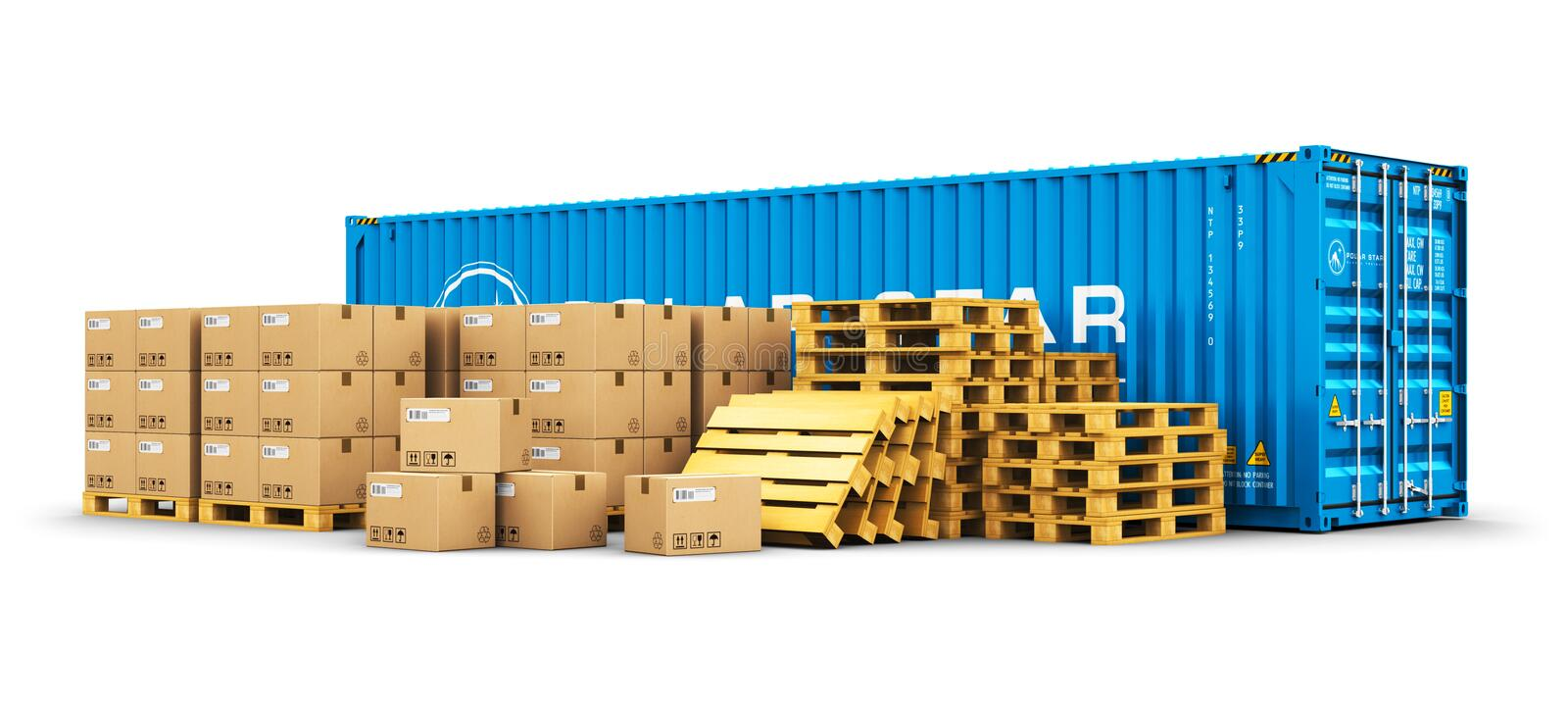 40 ft cargo container and shipping pallets with cardboard boxes. Creative abstract cargo freight transportation, shipping, logistics, delivery and distribution stock illustration