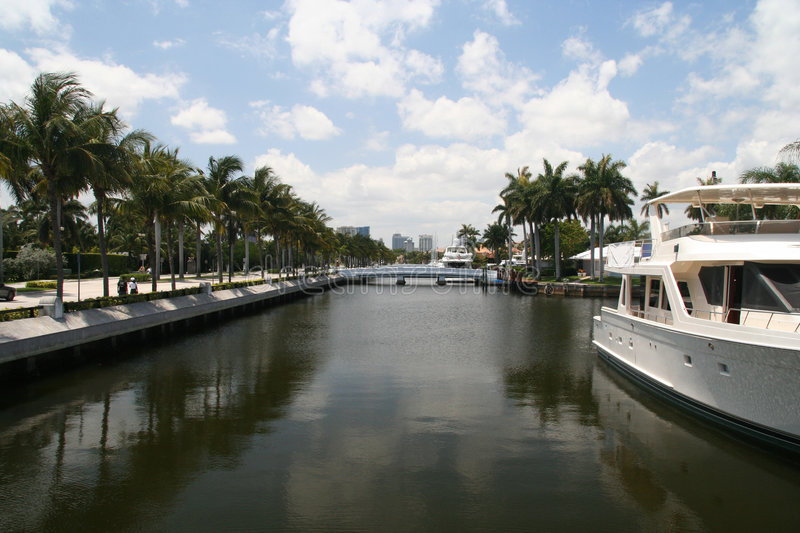 Ft. Lauderdale canal. A Ft. Lauderdale canal looking towards downtown Ft. Lauderdale stock photos