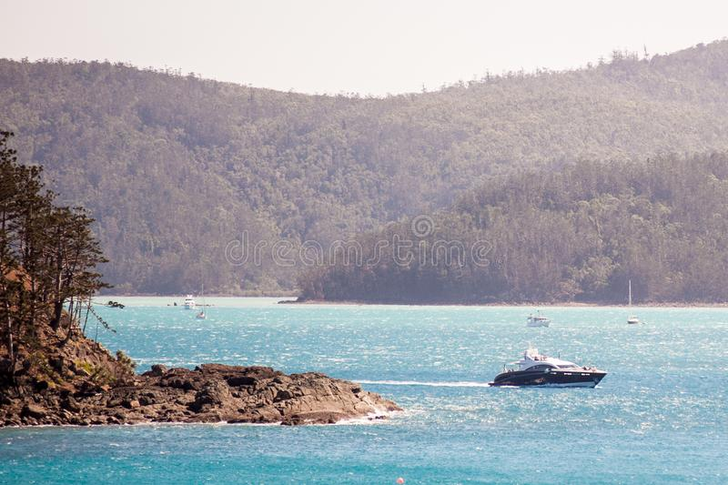 Quantum Super yacht sailing at Hamilton Island. The 119. 98ft /36. 57m S120 open `Quantum` was built in 2009 by Warren Yachts. This luxury vessel`s sophisticated royalty free stock images