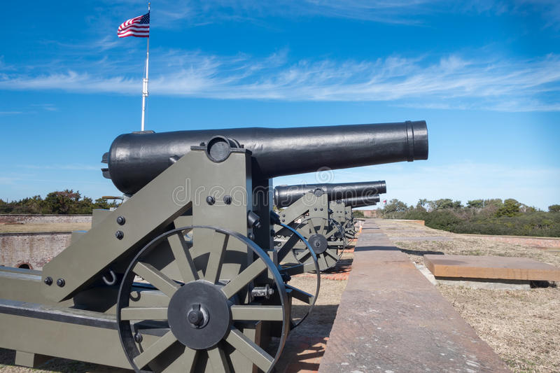 Ft Macom Cannons stock images