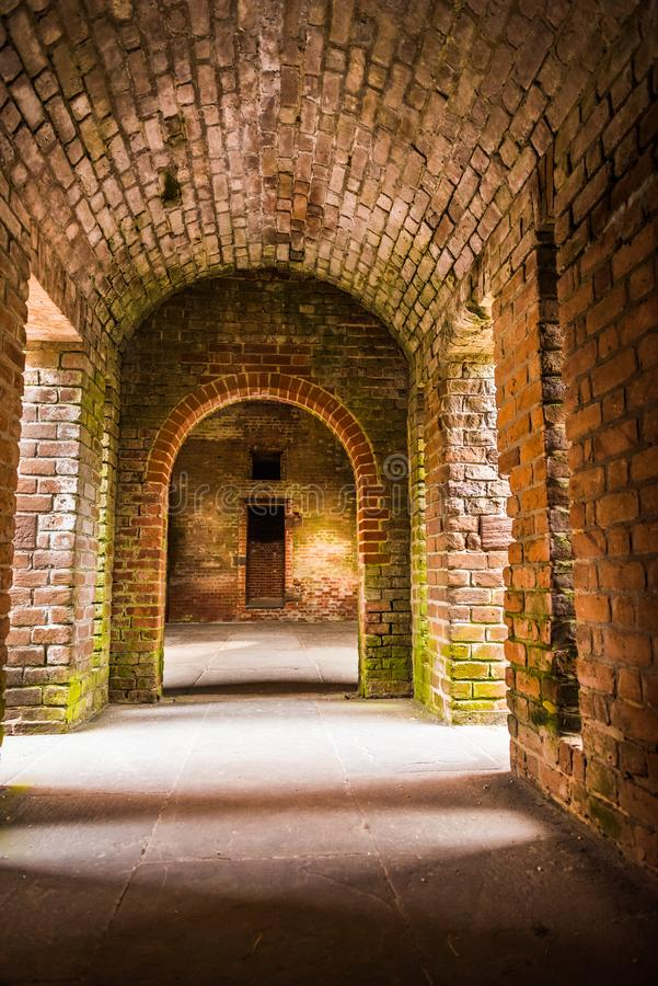 Ft Passagens da alvenaria do tijolo de Jacksonville Florida do rebitamento fotografia de stock royalty free