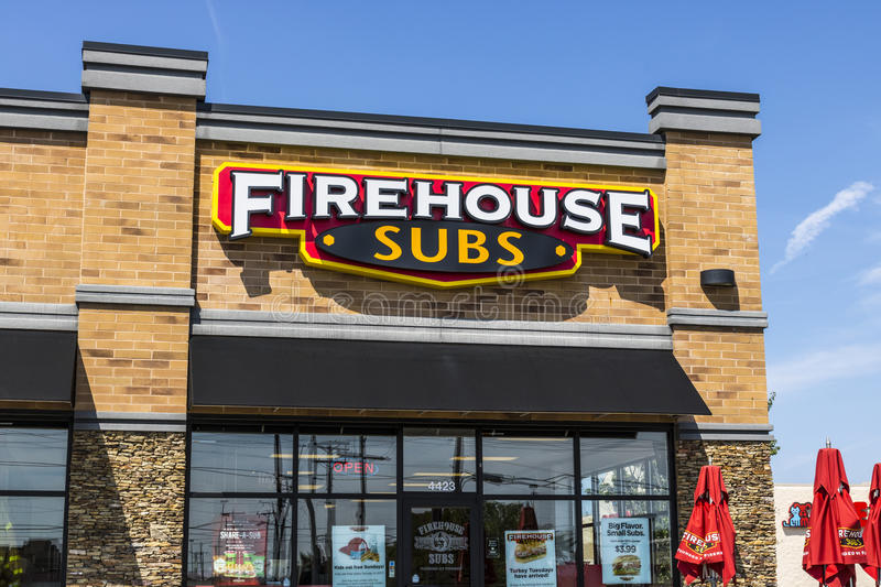 Ft. Wayne - Circa August 2017: Firehouse Subs fast casual restaurant. Firehouse specializes in hot submarine sandwiches III stock photo