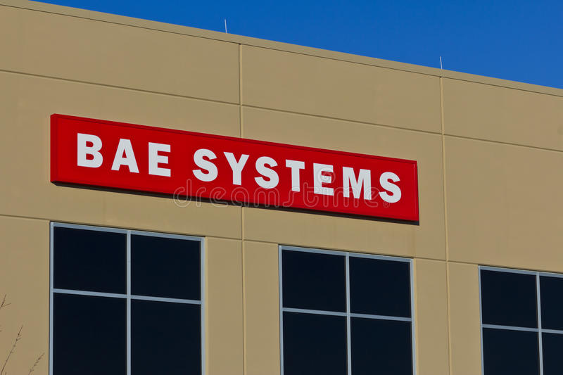 Ft Wayne, IN- circa im Dezember 2015: BAE Systems Manufacturing Facility lizenzfreie stockfotos