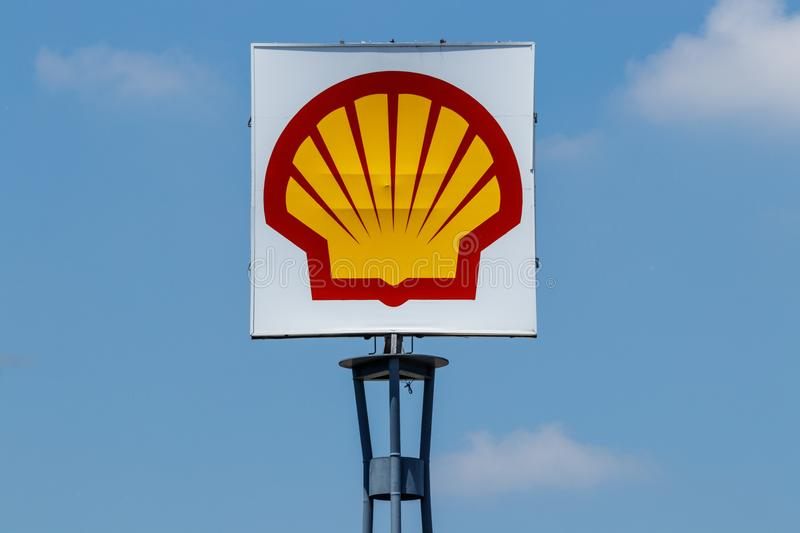 Ft. Wayne - Circa June 2018: Signage and Logo of a Shell Gas Location. Royal Dutch Shell plc is based in The Hague, Netherlands II royalty free stock photo