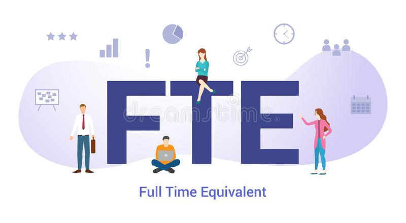 Fte full time equivalent concept with big word or text and team people with modern flat style - vector royalty free illustration