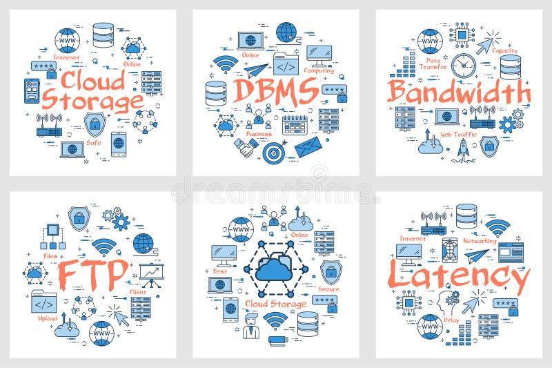 FTP знамен, латентность, ширина полосы частот и хранение облака бесплатная иллюстрация