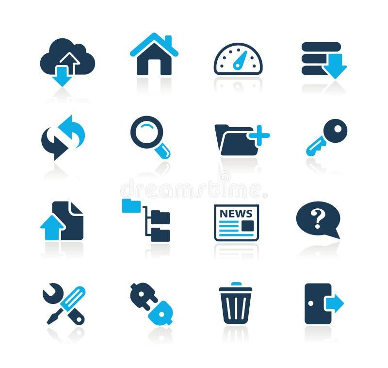 Ftp & ospitare la serie di azzurro di // delle icone illustrazione di stock