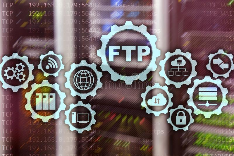 ftp begrepp 3d Nätverksöverföringsdata till serveren på supercomputerbakgrund stock illustrationer