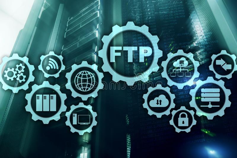 ftp begrepp 3d N?tverks?verf?ringsdata till serveren p? supercomputerbakgrund stock illustrationer