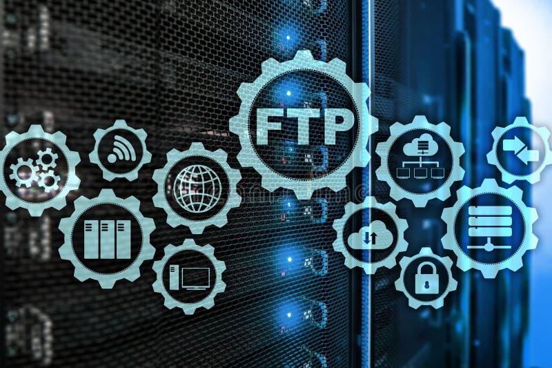 ftp 3d concept De gegevens van de netwerkoverdracht aan server over supercomputerachtergrond royalty-vrije stock fotografie
