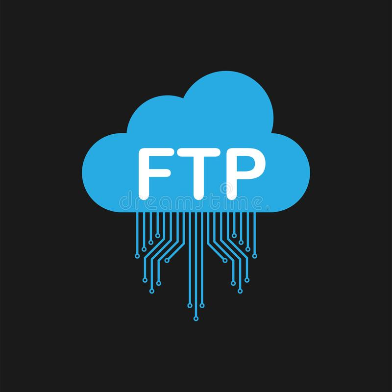 FTP file transfer icon on black background. FTP technology icon. Transfer data to server. Vector illustration. royalty free illustration