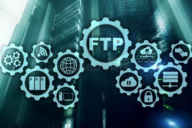 ftp File Transfer Protocol Dados de transfer?ncia da rede ao servidor no fundo do super-computador ilustração stock