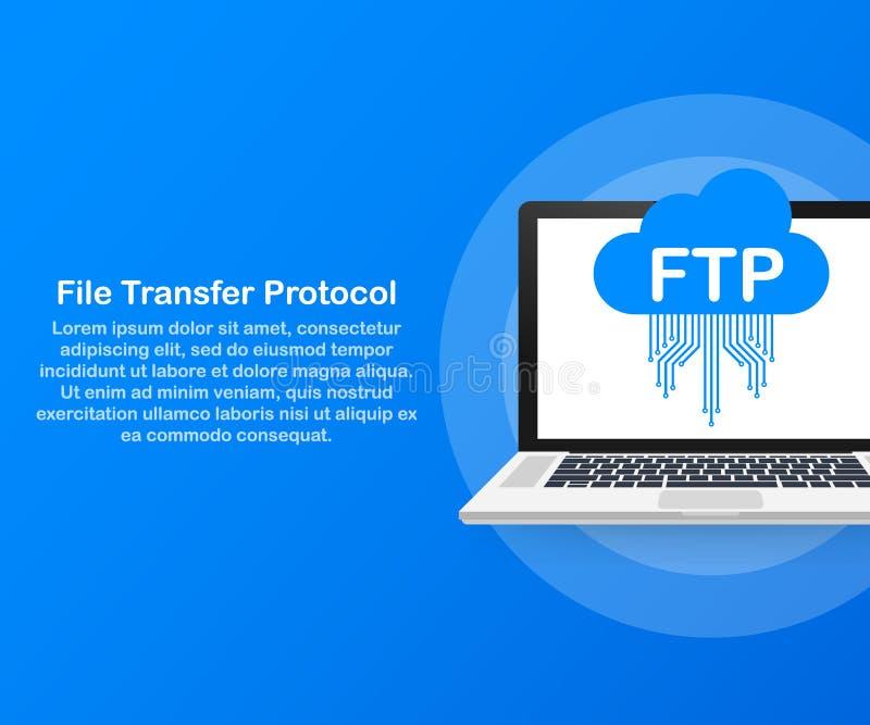 FTP-het pictogram van de dossieroverdracht op laptop FTP-technologiepictogram Overdrachtgegevens aan server Vector illustratie royalty-vrije illustratie