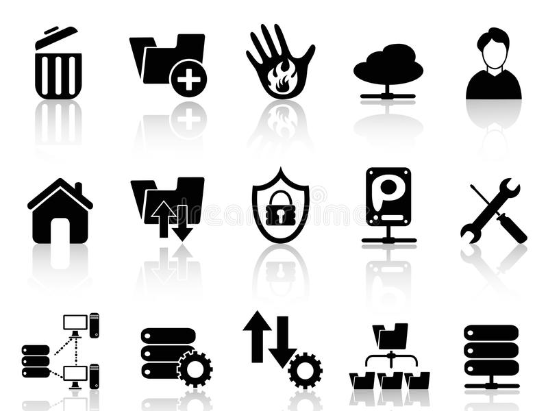 Ftp host icons. Isolated black ftp host icons from white background stock illustration
