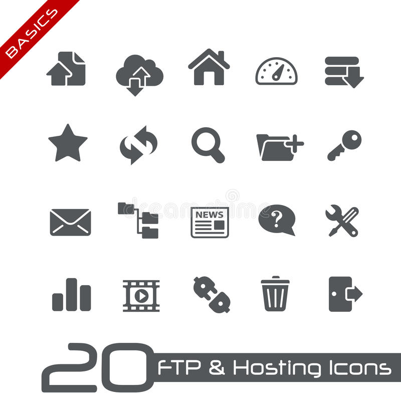 Download FTP & Hosting Icons // Basics Series Stock Vector - Image: 26611459
