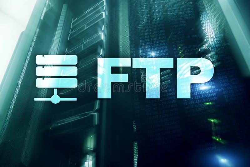 Ftp - Protocolo de transferência de arquivos Conceito da tecnologia do Internet e de comunicação ilustração stock
