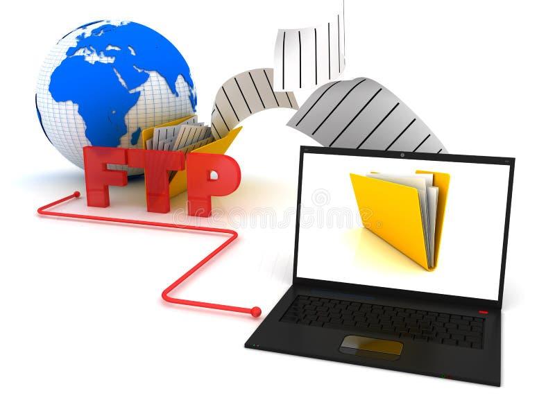 Ftp server transferindo arquivos pela rede ilustração do vetor