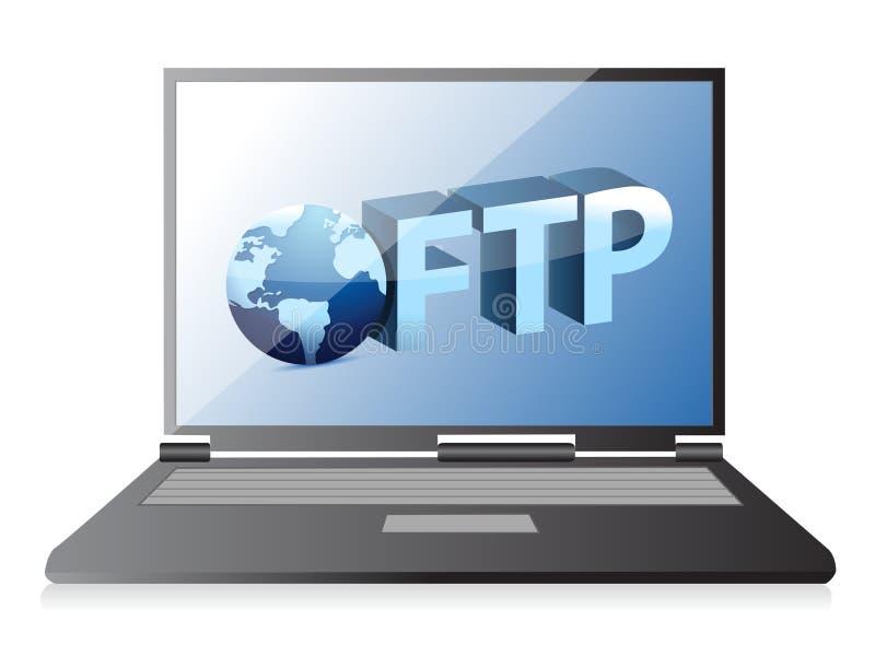 Ftp server transferindo arquivos pela rede ilustração stock